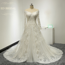 Long Sleeves Beaded Lace Appliques Muslim Wedding Dress China Bridal Gowns gelinlik robe de mariee