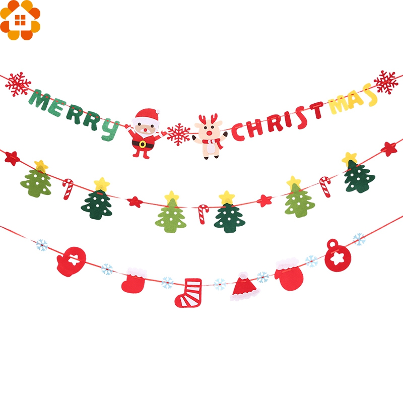 Cute Christmas Party.Us 2 42 15 Off 1set 3m Diy Banners Cute Christmas Flags Garland Non Woven Floral Bunting Banners Home Christmas Party Decoration Supplies In Pendant