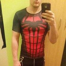 Superman Quick Dry Gyms Tights Clothing Short Sleeve T Shirt Men