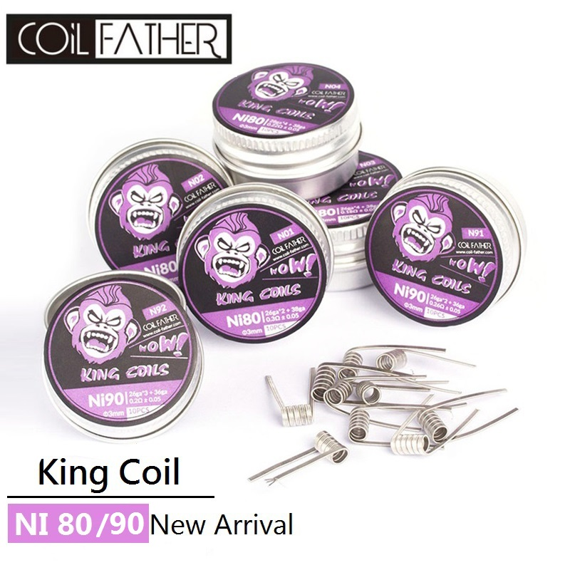 Coil Father 10pcs/box Ni80 Ni90 Nichrome Coil Prebuilt Premade King Coils For Electronic Cigarette RDA RTA RBA RDTA Atomizer