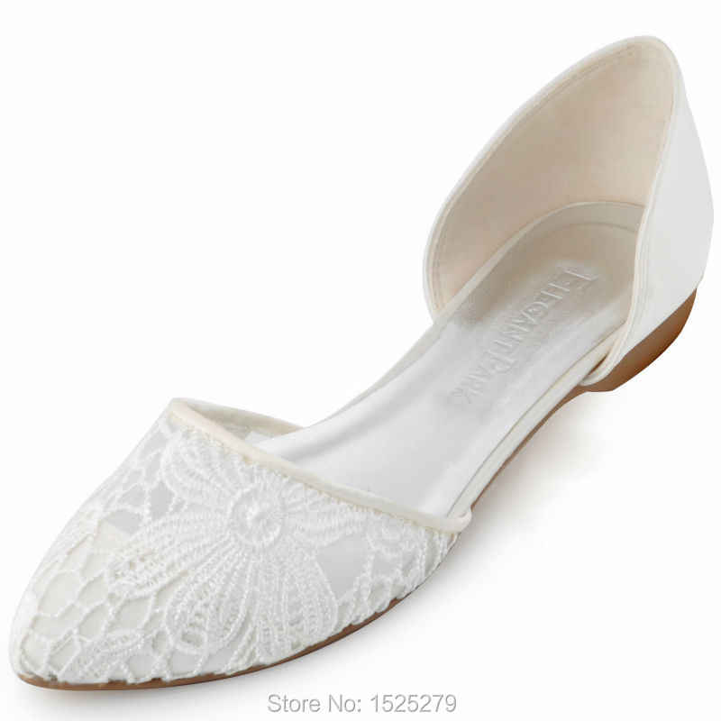 FC1527 Women Flats Ivory Bride Bridesmaids Wedding Shoes Ballets Pointed Toe  Slip-On Satin Lace afc32233b68f