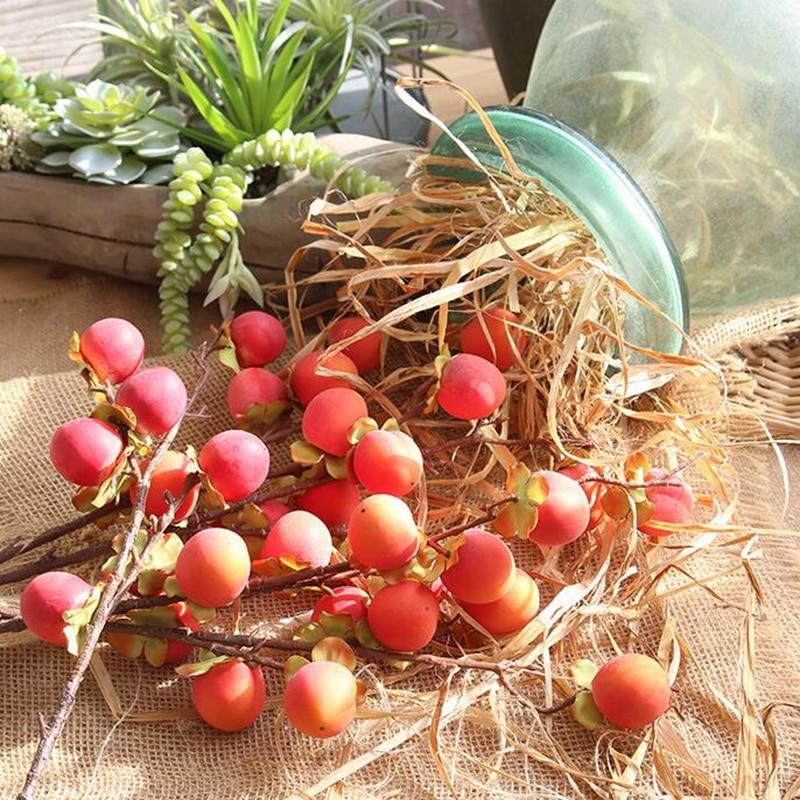 10 Pcs Peach Branch Fruit Stem Artificial Rose Peach Fruit Berries Bouquet Floral Berry Garden and Home Decoration