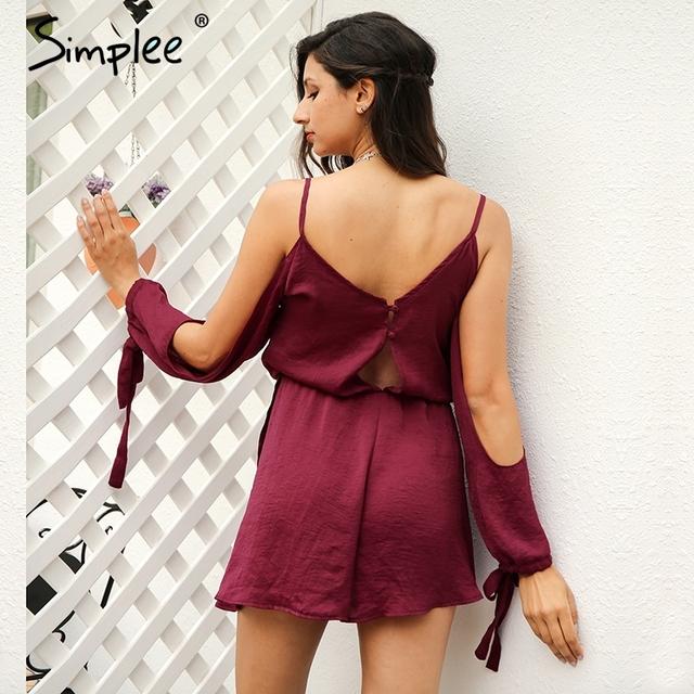 Simplee Deep V backless women jumpsuit romper bodysuit Off Shoulder bow summer overalls Button high waist playsuit macacao