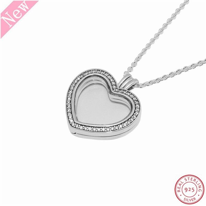 Image 4 - 60 cm moyen pierre clouté étincelant flottant coeur médaillon  pendentif colliers pour femmes bijoux en réel 925 argent Sterling  FLN069Colliers