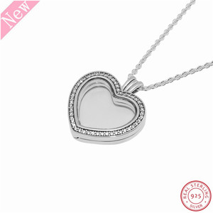 Image 4 - 60cm Medium Stone Studded Sparkling Floating Heart Locket Pendant Necklaces for Women Jewelry in Real 925 Sterling Silver FLN069