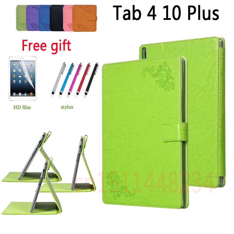 For Lenovo TAB4 10 Plus Case PU Leather+TPU Silicone Materials Cover for Lenovo TAB 4 10 Plus TB-X704N TB-X704F case + film+pen pu leather cover stand case for lenovo tab 4 10 plus tb x704f tb x704n 10 1 tablet protective tab4 10 plus transformers cover