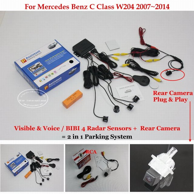 For Mercedes Benz C Class W204 2007~2014 - Car Parking Sensors + Rear View Camera = 2 in 1 Visual / BIBI Alarm Parking System