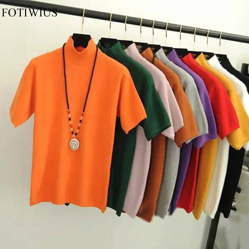 Женская трикотажная футболка с коротким рукавом, облегающая трикотажная футболка с высоким воротом для фитнеса, трикотажный пуловер, вязаная футболка, весна лето 2020|tee shirt femme|shirt femmetee shirt | АлиЭкспресс