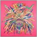 2016 Nova Chegada Lenço de Seda Quadrado Marca de Luxo Pena Indiano Mulher Cachecóis & Wraps Penas Coroa Espanhola Foulard Acessório