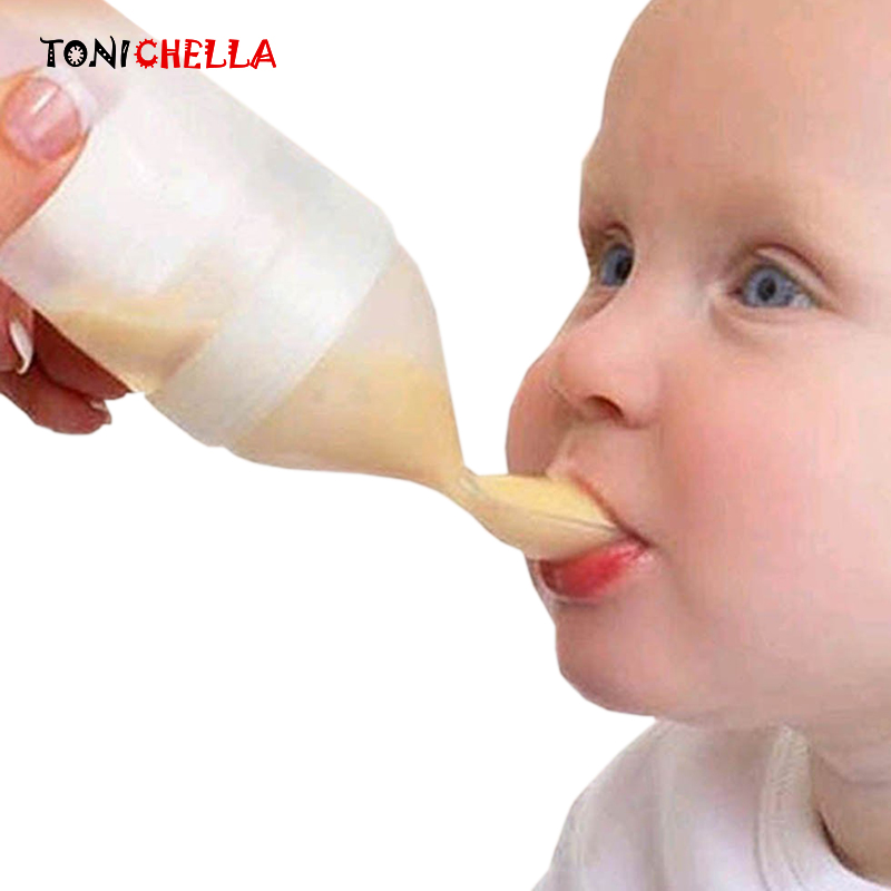 Silicone Baby Feeding Bottle With Spoon Food Supplement Rice Cereal Bottle Baby Squeeze Spoon Silica Gel Spoon BB0065
