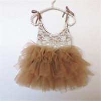 Brown Lace Diamond Belt Baby Girls Dresses 5A230