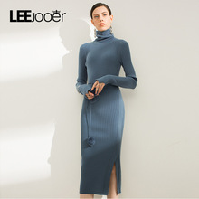 LEEJOOER 2017 Winter Dress Women Fashion High Street Basic Slim Work Office Wear Bodycon Dress Ladies Turtleneck Long Dresses
