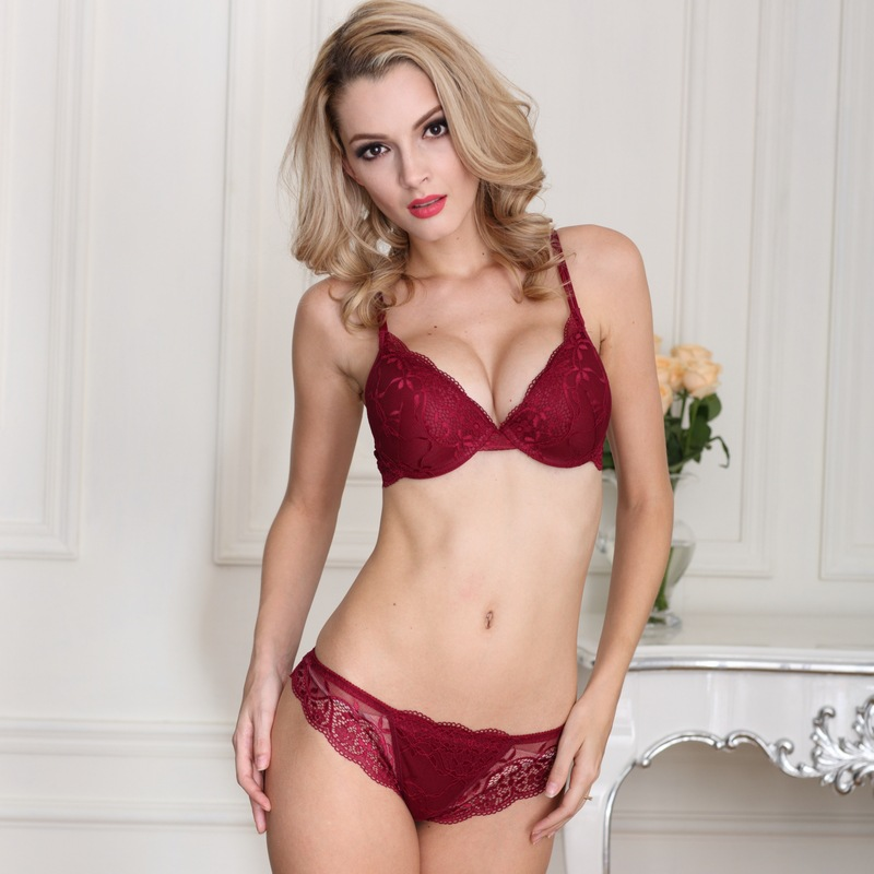 Free shipping Sexy Women Bra Set Deep V Lace Decro Underwire Bras Push Up  Solid 70A-85C Lingerie Outfit b3370f9f8