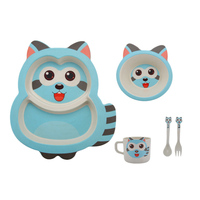 5pc Raccoon Shape Cartoon Baby Food Supplement Feeding Dishes Bowl Tableware Set Dinnerware for Children