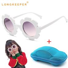 LongKeeper Fashion Kids Sunglasses with Case Round Sun Flower Cute Glasses Luxury Girls Eyewear UV400 Gafas De Sol