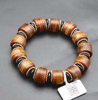 17*10mm natural with decorate china old cylindrical stripe orange chalcedony Beads cuff bracelet mysterious bracelet bangle