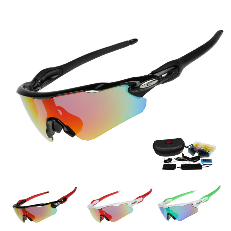 COMAXSUN Professional Polarized Cycling Glasses Bike Goggles Fishing Outdoor Sports Sunglasses UV 400 With 5 Lens STS813