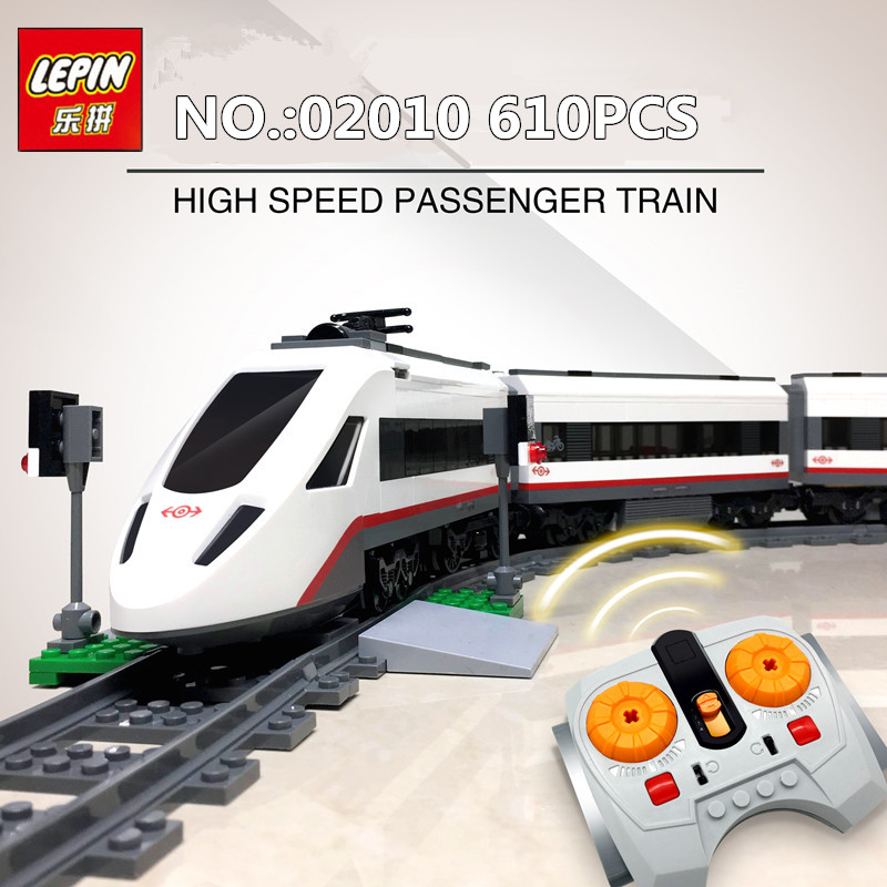 610Pcs Lepin 02010 The High-speed Passenger Train Remote-control Trucks Set Building Blocks Bricks Kits Toys Compatible 60051 lepin 02010 city trains high speed passenger train model building blocks enlighten diy figure toys for children compatible 60051