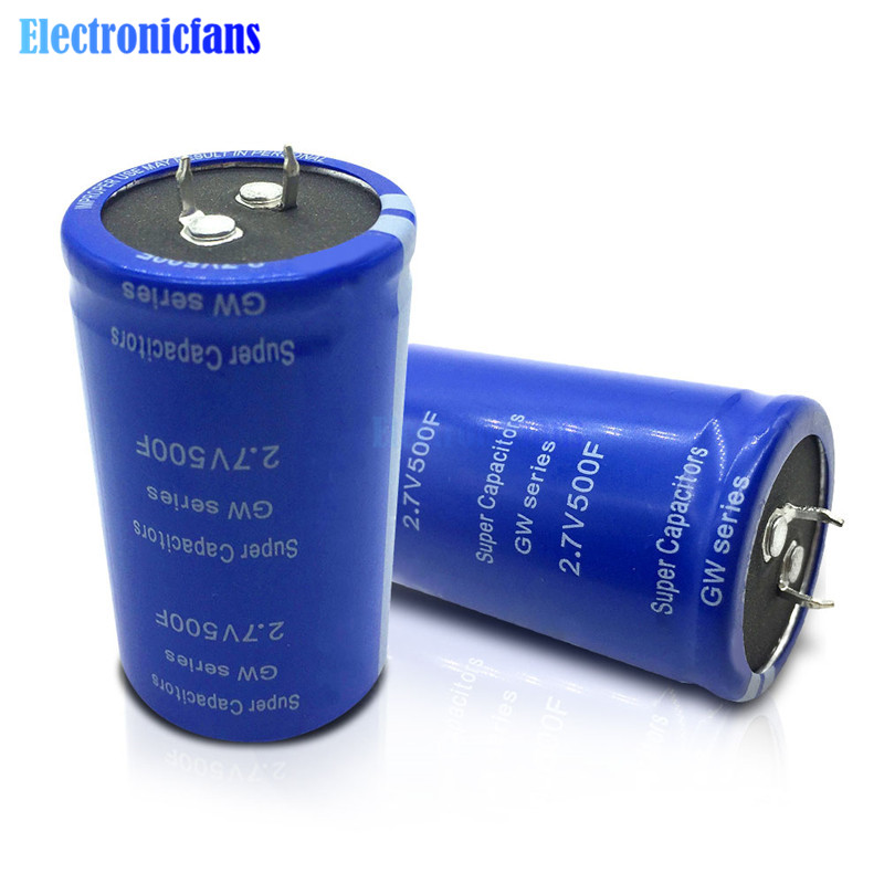 2.7V 500F Super Capacitor 2.7v500f Can Be Used As Vehicle Rectifier Low Temperature Starting Capacitor Blue