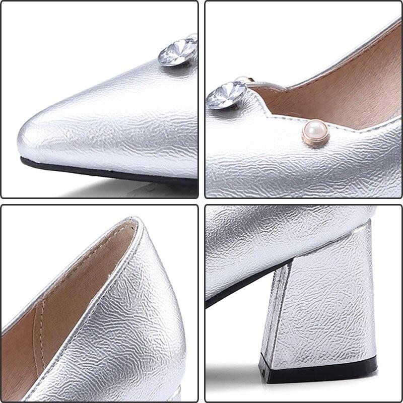 Partie Bout Strass on Pompes wine silver Talons Pointu Épais Femmes Dames Mode Haute Daidiesha Gold Slip Élégant Chaussures Sexy gZ7tUq