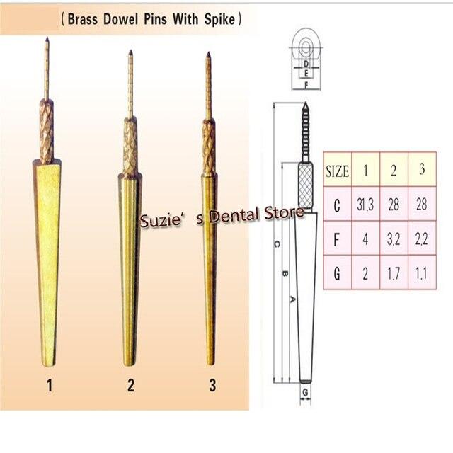 500PCS Dental Lab Brass Dowel Pins With Spike Dental Stone Work 3 Sizes Large Medium Small