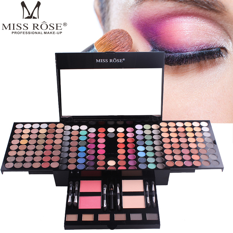 eyeshadow palette case makeup set of 180 colors eye shadow matte shimmer Piano box Blush powder 6 color bronzer blockbuster miss rose plate of the piano box eye shadow makeup of dumb light of pearl tray blush powdery cake grooming powder cosmetics box