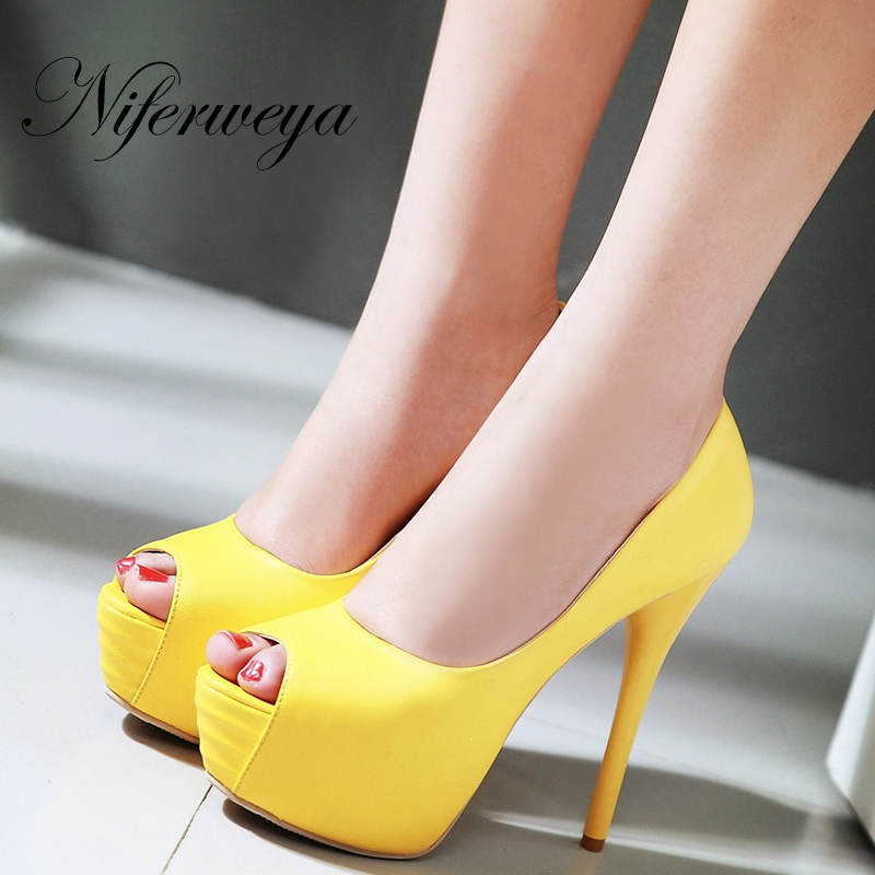 Sexy 14 cm spring/autumn Platform thin heel high heels big size 32-43 Peep Toe Slip-On women party shoes zapatos mujer meotina women wedding shoes 2018 spring platform high heels shoes pumps peep toe bow white slip on sexy shoes ladies size 34 43