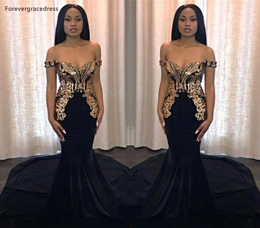 South African Black Girls Mermaid   Prom     Dresses   Off Shoulder Holidays Graduation Wear Party Gowns Plus Size Custom Made