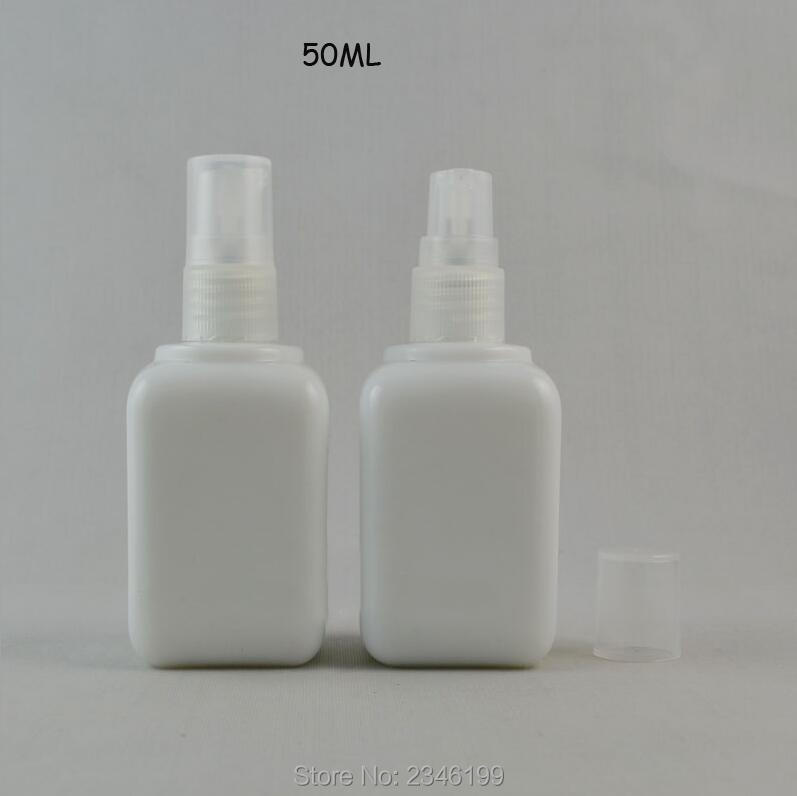 50ML 10pcs/lot Square White Elegant Spray Bottle, DIY Glass Empty Lotion Pump Bottle, Cosmetic Liquid Refillable Container alcohol and liquid container bottle white 180ml