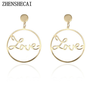 Gold color Simple design fashion earring for women round love letter hollow ear jewelry stud earring dropshipping e052 earrings