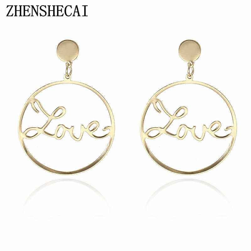 Gold color Simple design fashion earring for women round love letter hollow ear jewelry stud earring dropshipping e052