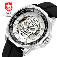 Men Fashion 3D Skull Design Vintage Mechanical Watches SAS Shield Anchor Shark Sport Watch Silicone Strap Skeleton reloj hombre