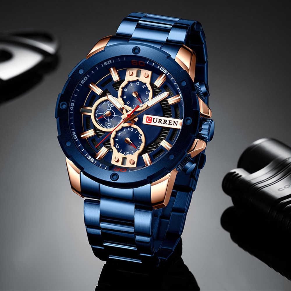 CURREN hombres relojes de acero inoxidable banda de cuarzo reloj cronógrafo militar reloj de hombre de moda reloj deportivo impermeable 8336