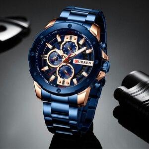Image 2 - Curren 시계 남자 스테인레스 스틸 밴드 쿼츠 손목 시계 군사 크로노 그래프 시계 남성 패션 스포티 시계 방수 8336