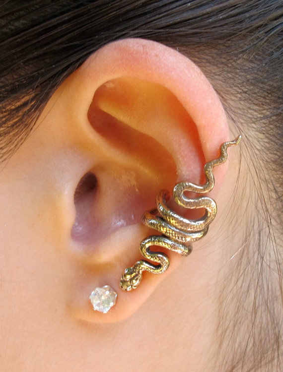2017 New Arrival  Fashionable  Ear Cuff Punk Style Alloy Twist Snake Earring  Punk Style Beautiful Jewelry  LM-C135