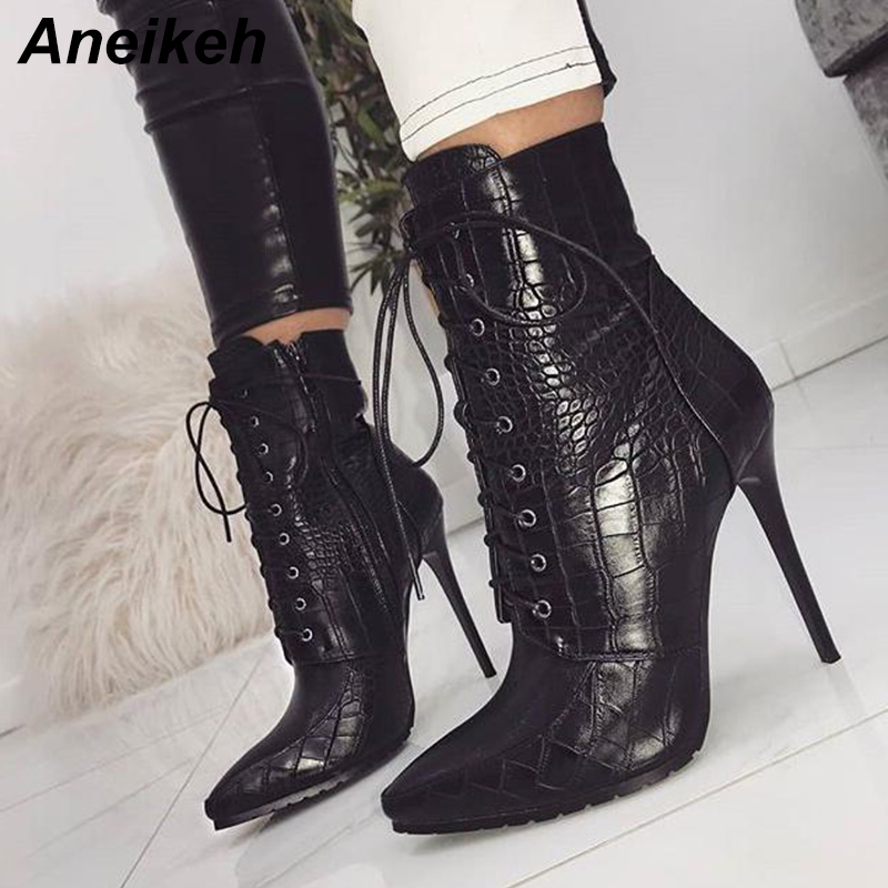Aneikeh Women Ankle Spring/Autumn Boots PU Leather Pattern Pointed Toe Lace Up Thin High Heels Shoes Sexy Fashion Chelsea Boots