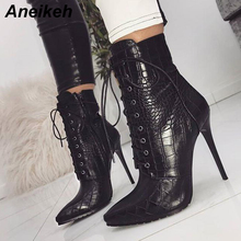 цены Aneikeh Women Ankle Spring/Autumn Boots PU Leather Pattern Pointed Toe Lace Up Thin High Heels Shoes Sexy Fashion Chelsea Boots