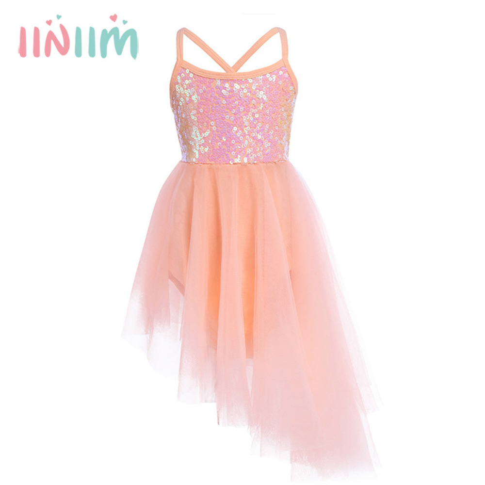 iiniim Girls Tutu Dress Sleeveless Sequins Tulle Ballet Dance Gymnastics Leotard Ballet Tutu Dancewear Stage Performance Costume new girls ballet costumes sleeveless leotards dance dress ballet tutu gymnastics leotard acrobatics dancewear dress