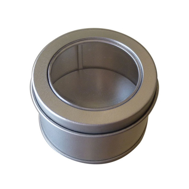 20pcs Small Metal Round Tin Silver Storage Box Case With Window, 65*65*