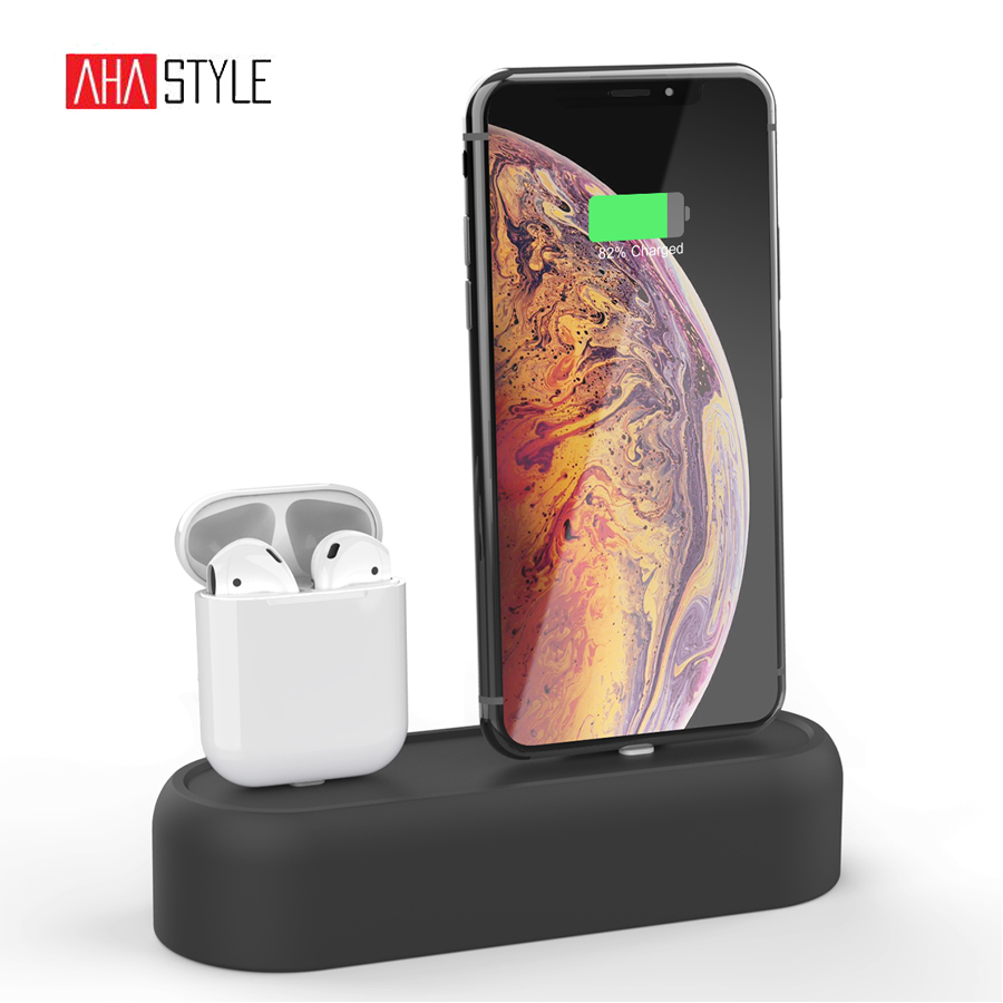 95e5238237c 2 em 1 Carregador Doca de Carregamento para Apple Airpods Bases Mount  Holder Stand Dock Station Cradle para o iphone X XR XS Max 8 7 6 Plus