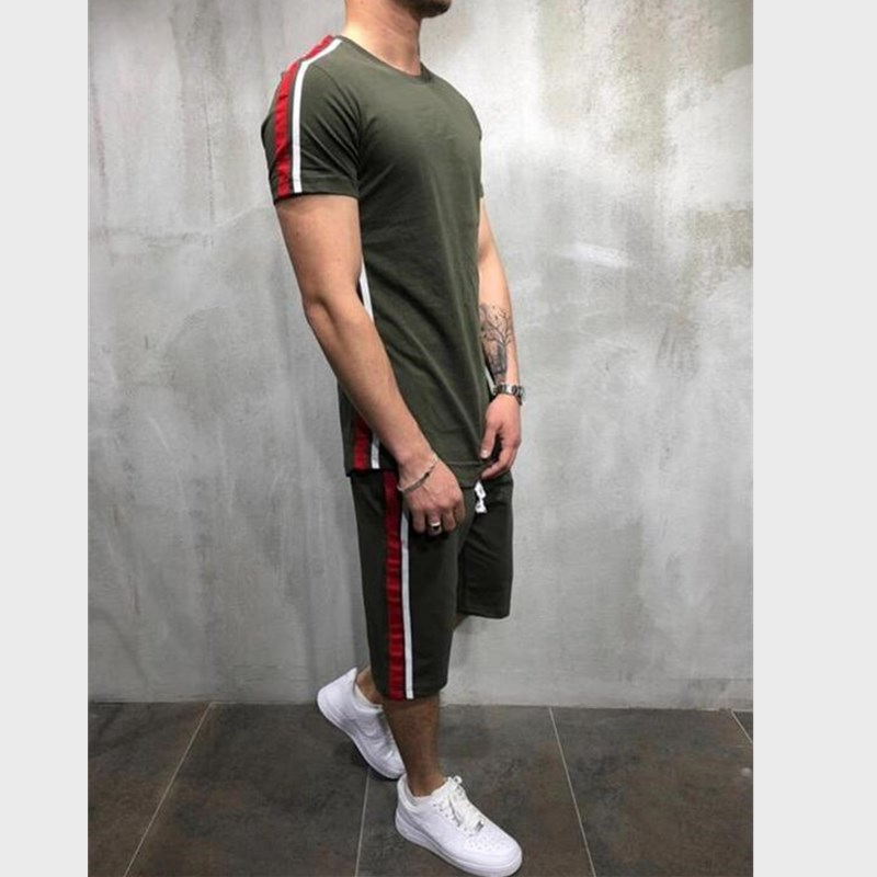 2019 New High Quality Brand Men T-shirt Suit 2 Piece Casual Short Sleeve O-neck Fashion Printed Cotton T Shirt And Shorts Men