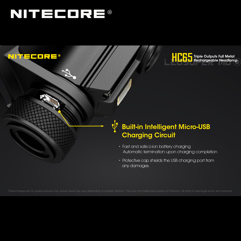 Top 1 Selling Nitecore HC65 CREE XML2-U2 LED 1000 Lumens Triple Output Full Metal Rechargeable Headlamp with Li-ion Battery 5
