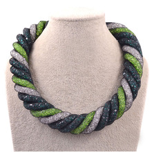 Special offer mesh rope chain twisted multi colored crystal magnetic clasp big necklace women necklace