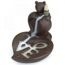 Bear Love Backflow Incense Burner Ceramic Incense Holder Lotus Smell Aromatic Home Office Incense Crafts Aromatherapy Furnace