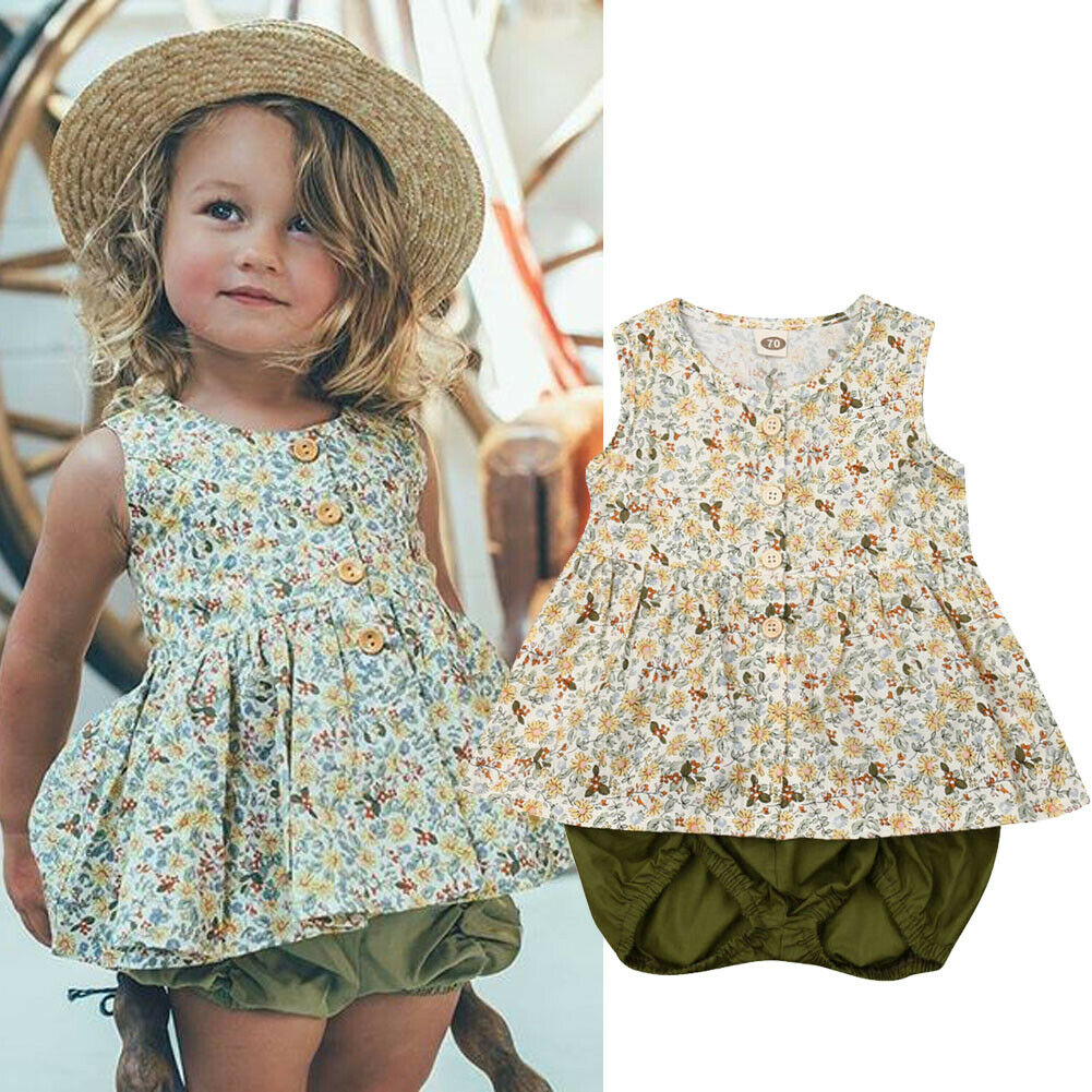 2019 New 2PCS Toddler Baby Girls Outfits Clothes Sleeveless Floral Button Down Tops Dress+Ruffle Bloomer Short Sets 0-3T