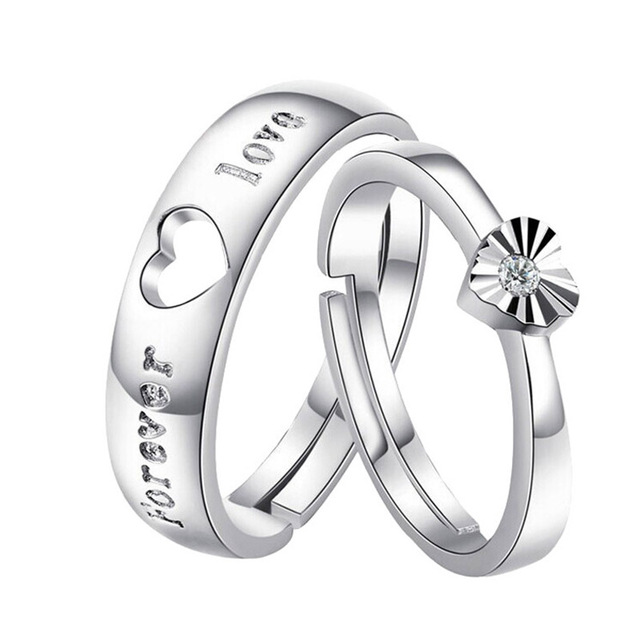 Classic Engagement Promise Gift Lover's Adjustable Ring 925 Silver Heart to Heart Forever Love Zircon Ring for Lover