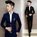 Jacket + pant envío libre 2016 mens Coreano temperamento slim fit terno masculino boda del novio trajes de hombre vestido ocasional de $ number piezas traje