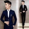 jacket+pant free shipping 2016Korean mens temperament slim fit terno masculino wedding groom dress suits men casual 2-piece suit