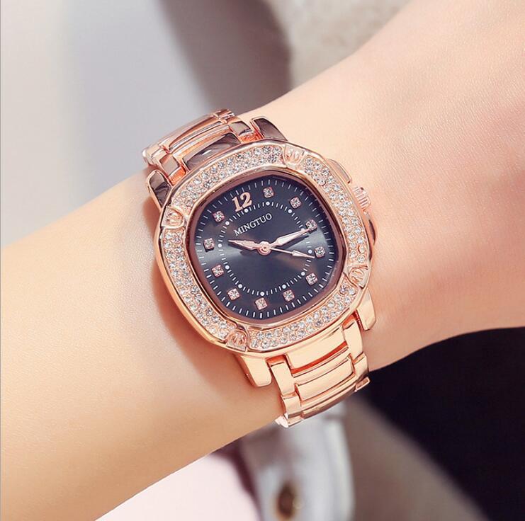 Mujeres de lujo Rose oro reloj marcas Crystal Sliver Dial diseño de - Relojes para mujeres