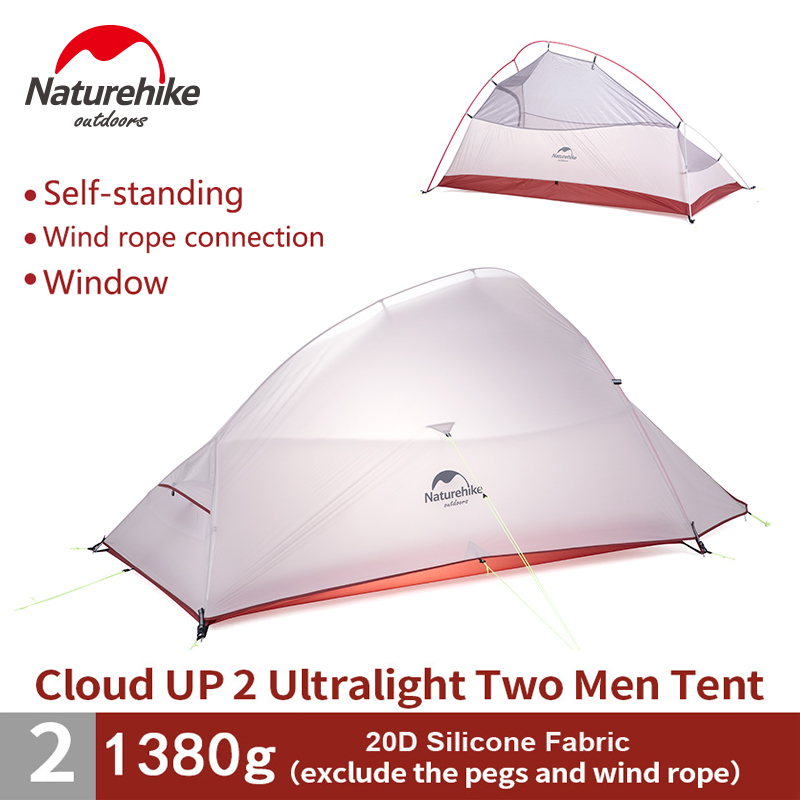 Naturehike 2 Person Ultralight 20D Silicon Tent Self Standing Tent Double layer Camping Hiking Climbing Tent NH15T002-T